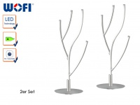 2er Set LED Tischleuchte JANSSEN, Nickel matt, Höhe 46cm, Tischlampe Design LED