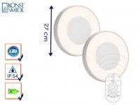 2er-Set LED Wandleuchten / Deckenleuchten CARRARA weiß inkl. Fernbedienung, 25W