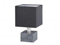 Quadratische LED Nachttischleuchte in schwarz Marmorsockel & Schirm aus Stoff