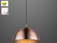 Pendelleuchte / Hängelampe 40cm, Kupfer antik mit Holz, Dekorstanzung, Globo
