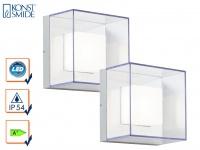 2er-Set Wandleuchten SANREMO, bruchsicherer Schirm, 6W HP-LED, IP54