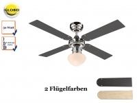 Deckenventilator Licht und Zugschalter, 2 Flügelfarben Graphit / Ahorn, Globo
