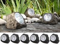 6er SET LED DEKO Solarsteine für den Garten & Außenbereich, IP44 geschützt grau