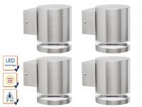 4er SET Downlight Edelstahl Außenwandleuchten inkl. 3 Watt LED, 230 Lumen, IP44