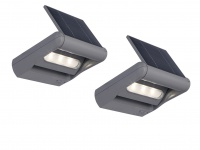 2er Set LED Außenwandleuchte Solar dimmbar & drehbar IP44 Solarlampe Garten