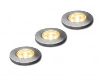 3tlg. Mini LED-Bodeneinbauspot, Ø 3, 5cm, 2700K, IP44 Erweiterungsset