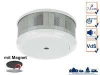 Mini 10-Jahres Rauchwarnmelder + Magnet-Set mit VDS & DIN EN14604 Brandmelder