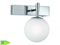 Badezimmer-Spot, 1 x 28W/G9, Höhe 16cm, Schalter, chrom, Glas weiss