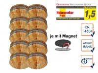 10er SET Rauchmelder Holzoptik mit EASY Magnethalterung, Feuermelder Feueralarm