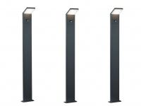 3 Moderne LED Pfostenleuchte in anthrazit aus ALU mit Bewegungssensor 100cm IP54