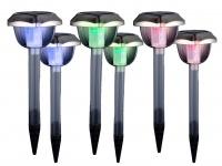 Solarleuchten SET - 6LED Erdspießleuchten für den Garten, Farbwechsel & Erdspieß