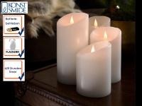 4er Set LED Echtwachskerze 3D Flamme & Timer Batteriebetrieb Ø 10cm Dekoleuchte