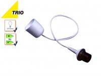 Trio E27 Lampenschirmaufhängung Schnurpendel 70cm weiß, Baldachin Hängelampe