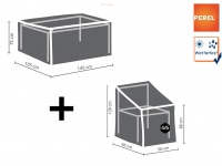 Schutzhüllen Set: 1x Hülle für Tisch max. 140cm + 1x Hülle für 4-6 Stapelstühle