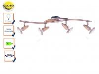 Globo Design Deckenleuchte Deckenstrahler LORD Kupfer Holz mit LED, E14 Strahler