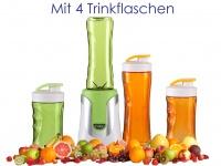 Family Smoothie Maker 300W Grün, 4 Flaschen - 300 & 600ml je 2 in Grün&Orange