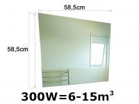 300W Glasheizpaneel Infrarotheizung Spiegel, Glaspaneel ohne Rahmen Vitalheizung