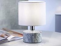 Kleine Tischlampe LED aus Marmor mit Stofflampenschirm in weiß Höhe 27 cm Ø 18cm
