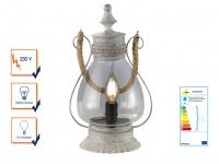Tischleuchte LINDA aus Metall u. Glas klar, grau antik, E14, Trio