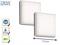 2er-Set LED Wandleuchten / Deckenleuchten CESENA eckig weiß, 10W, 900 Lm, IP54