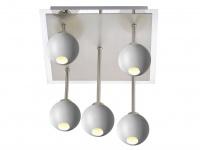 5flammige dimmbare LED Deckenleuchte eckig, Glaskugeln weiß offen, Deckenlampe