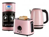 Frühstücksset im Retro Design pastell rosa Kaffeemaschine, Wasserkocher, Toaster