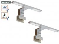 2er Set 2flammige LED Badleuchten Spiegelleuchten, IP44 Badezimmerlampen Chrom