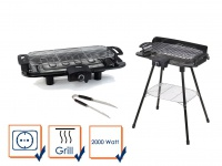 Gartengrill Tischgrill BBQ Grill mit Edelstahl Grillzange Barbeque Elektrogrill