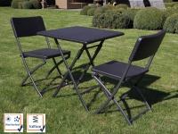 Wetterfeste Sitzgarnitur Kunststoff & Stahl Klapp Tisch & Stühle Gartenmöbel