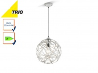 Trio Kugel Pendelleuchte JACOB 40cm mit E27 LED, Design grau antik, Hängelampe