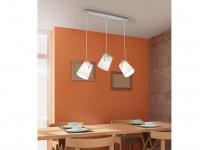 LED Pendelleuchte STOFF Lampenschirme schwenkbar weiß B. 80cm - Esstischlampen