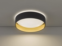 Dimmbare LED Sternenhimmel Deckenleuchte Ø60cm, Lampenschirm Textil schwarz gold