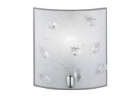 Moderne LED Wandleuchte aus Chrom Glasschirm in weiß mit ausgefallener Glasdeko