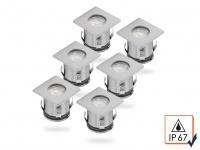6er Set Bodeneinbauleuchte LED, bis 1, 25t belastbar, Boden-Einbaustrahler Spots