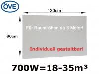 700W Infrarotheizung, 120x60 cm, für Räume ab 3 m Höhe 18-35m³, bemalbar, IP44