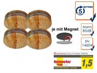 4er SET Rauchmelder Holzoptik 5 Jahres Batterie & Magnetbefestigung, Feueralarm