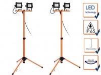 LED Doppelbaustrahlerset mit Stativ, schwenkbare IP65 Arbeitsscheinwerfer 4x10W