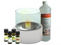 Edler Tischkamin Ø 16 cm + 1L Bio-Ethanol + 4x Duftöl, Tischfeuer Dekofeuer