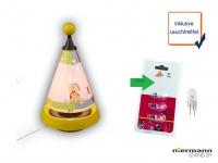 Nachttischleuchte Carrousel projiziert Mond und Sterne mit 3er Set Leuchtmittel
