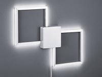 Eckige LED Wandlampe in Nickel matt/weiß mit 3-stufigem Switch Dimmer Flurlicht