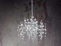 Ausgefallene LED Pendelleuchte chromfarben, Acrylblätter zaubern Lichteffekte