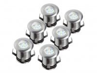 6er Set Bodeneinbauleuchte LED, Edelstahl, bis 1, 25t belastbar, IP67