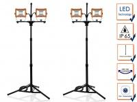 LED Doppelbaustrahlerset mit Stativ, Arbeitsscheinwerfer 4x30W, Bodenstrahler