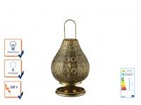 Tischlampe Tischleuchte JASMIN altmessing mit Schalter, E14, 36cm, Ø 19cm