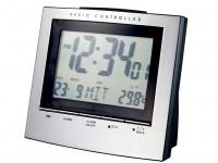 Tisch-/Weckuhr mit Snoozefunktion, integriertes Thermometer, alu-schwarz