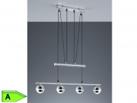 SMD-LED-JoJo-Pendelleuchte, 4 x 4, 2W LED, L. 78 cm, Kunststoff chrom