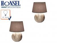 2x Tischleuchte HILL Strukturstoff braun Höhe 48cm Wohnzimmerlampe Honsel