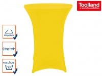 STEHTISCH klappbar Ø 80cm weiß mit gelber Stretch-Husse, Partytisch Bistrotisch