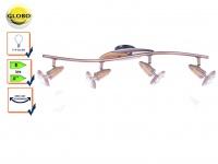 Globo Design Deckenstrahler Deckenleuchte LORD Kupfer Holz, Deckenlampe E14