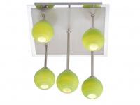 LED Design Deckenlampe 5flammig dimmbar, Glaskugeln grün, Deckenleuchte Wohnraum